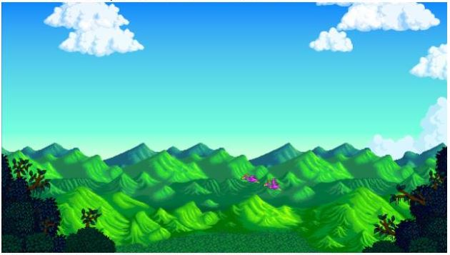 The title screen of Stardew Valley, featuring green hills and blue skies with a few white, fluffy clouds around the edges.