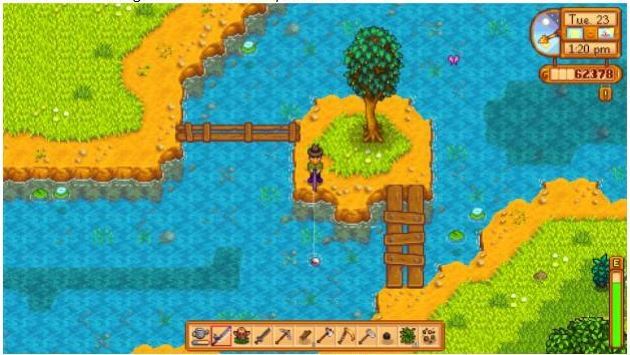 The player character stands on a small island with two plank bridges, fishing in a light blue stream.